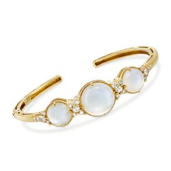 "Judith Ripka ""Allure"" Mother-Of-Pearl Doublet and .46 ct. t.w. Diamond Cuff Bracelet in 18kt Yellow Gold. 7"", , default"