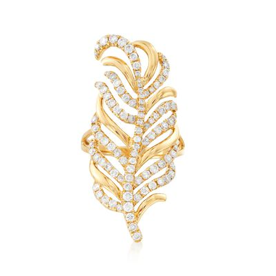 1.40 ct. t.w. Diamond Leaf Ring in 18kt Yellow Gold, , default