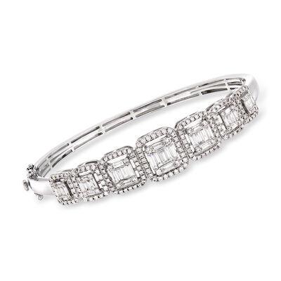 2.07 ct. t.w. Diamond Bangle Bracelet in 18kt White Gold, , default