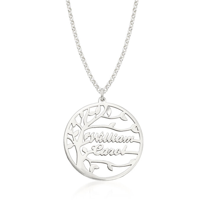 Sterling Silver Personalized Family Tree Necklace 18-inch (2 Names)