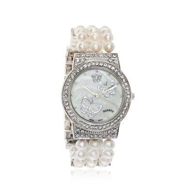 Women's 5.5-6mm Cultured Pearl and Crystal Butterfly Watch in Silvertone, , default