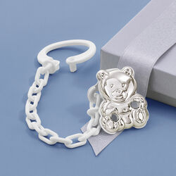 Cunill Sterling Silver Teddy Bear Pacifier Holder, , default