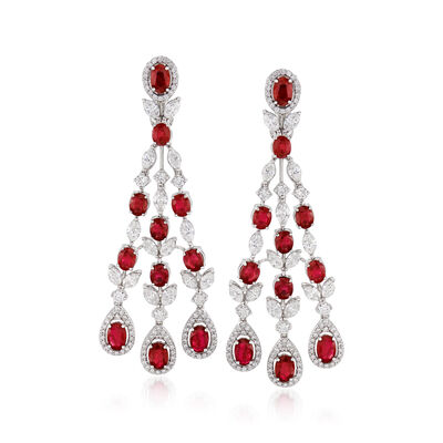 9.00 ct. t.w. Ruby and 6.40 ct. t.w. Diamond Chandelier Drop Earrings in 18kt White Gold, , default