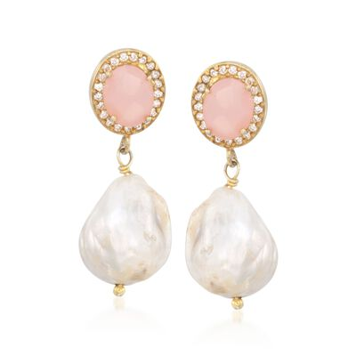 13-13.5mm Cultured Baroque Pearl and Rose Quartz Drop Earrings in 14kt Gold Over Sterling