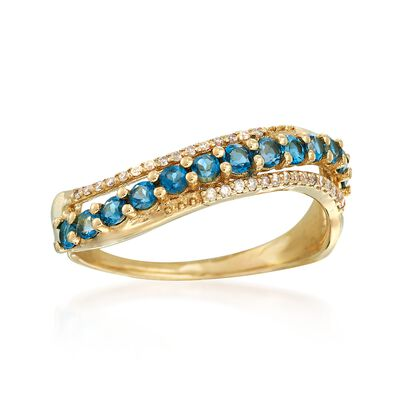 .50 ct. t.w. London Blue Topaz and Diamond-Accented Sash Ring in 14kt Yellow Gold , , default