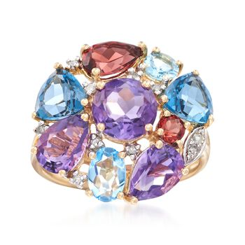 6.00 ct. t.w. Multi-Stone Cluster Ring in 14kt Yellow Gold, , default