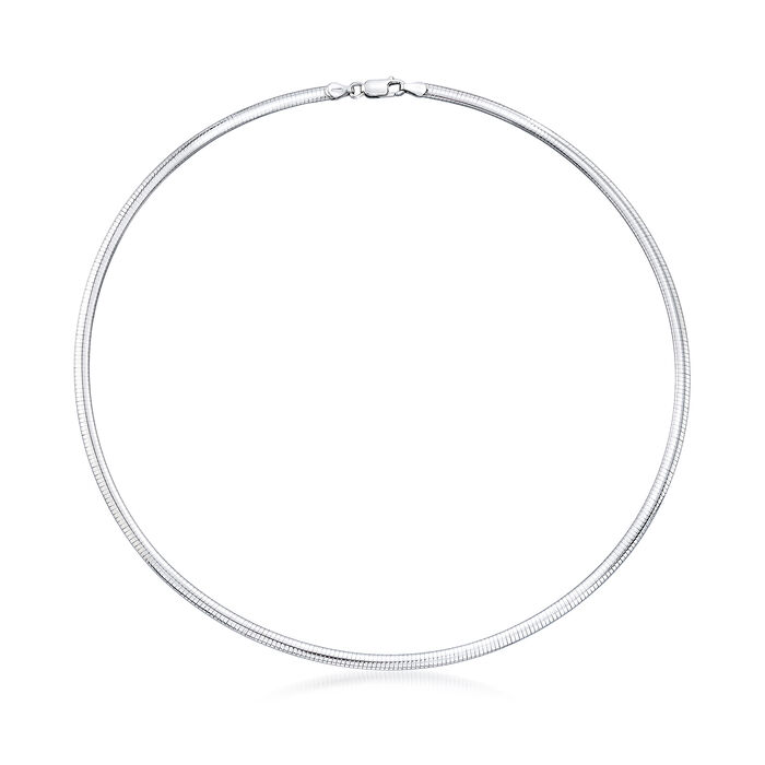 Italian 4mm Sterling Silver Domed Omega Necklace