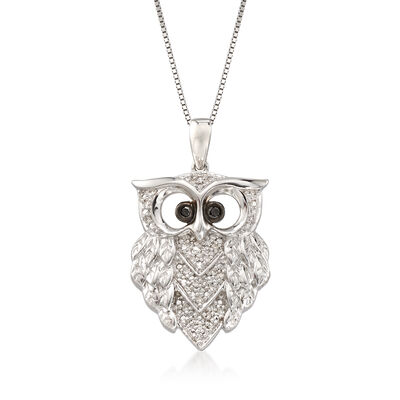.15 ct. t.w. Black and White Diamond Owl Pendant Necklace in Sterling Silver, , default