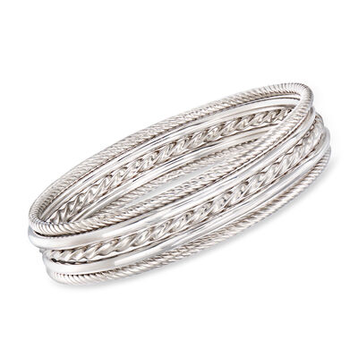 Sterling Silver Jewelry Set: Five Bangle Bracelets
