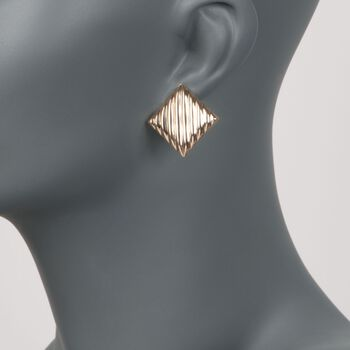 14kt Yellow Gold Striped Square Clip-On Earrings, , default