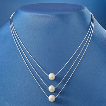 9-9.5mm Cultured Pearl Three-Strand Layered Necklace in Sterling Silver, , default