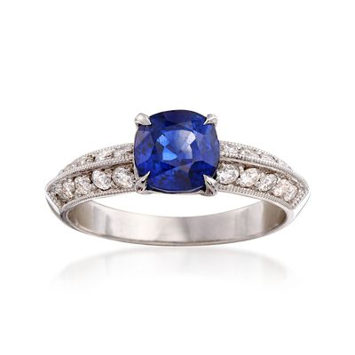 C. 2000 Vintage 1.65 Carat Sapphire and .45 ct. t.w. Diamond Ring in 18kt White Gold, , default