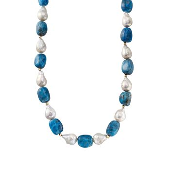 """12-15mm Cultured Baroque Pearl and 13-20mm Apatite Bead Necklace With 14kt Yellow Gold. 18"""", , default"""