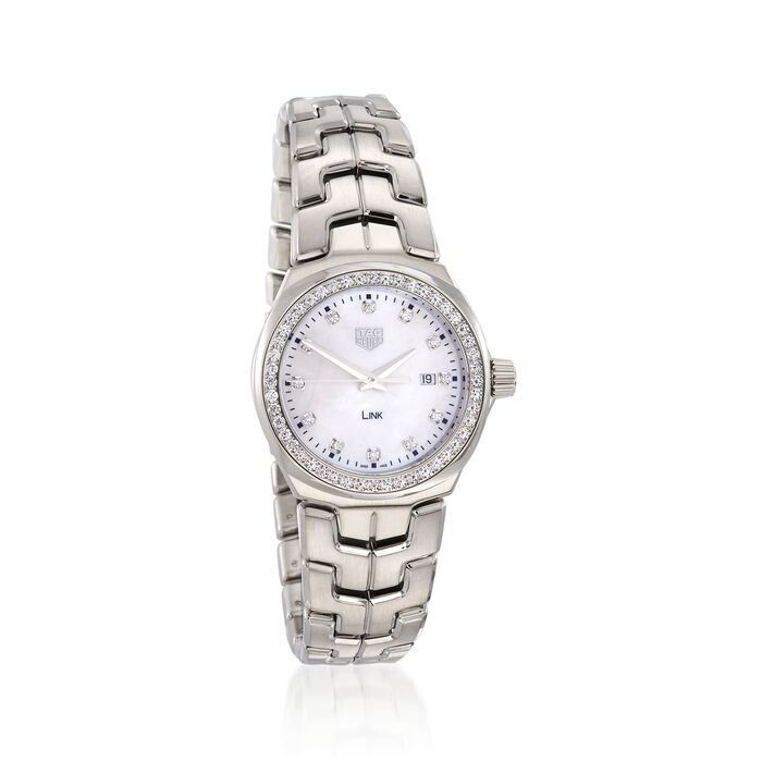 TAG Heuer Link Women's 32mm .92 ct. t.w. Diamond Watch in Stainless Steel with Mother-Of-Pearl Dial