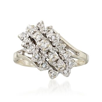 "C. 1970 Vintage .25 ct. t.w. Diamond Cluster Ring in 14kt White Gold. 5"", , default"