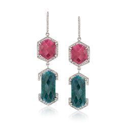 50.20 ct. t.w. Multi-Stone Drop Earrings in Sterling Silver, , default