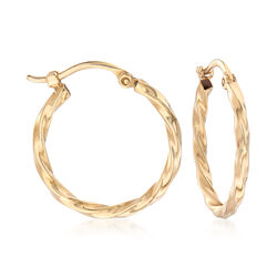 14kt Yellow Gold Twisted Hoop Earrings, , default