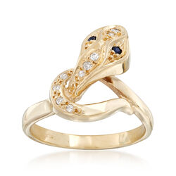 C. 1990 Vintage 14kt Yellow Gold Snake Ring With Sapphire and Diamond Accents, , default