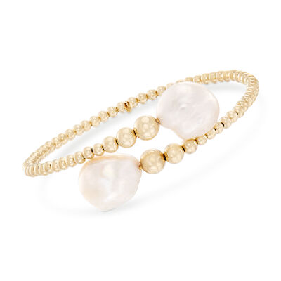 13-14mm Cultured Baroque Pearl Beaded Cuff Bracelet, , default