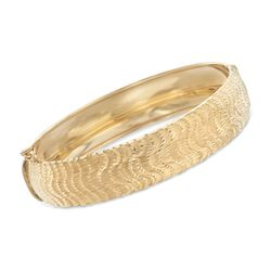 "Italian 14kt Yellow Gold Diamond-Cut Bangle Bracelet. 7.5"", , default"