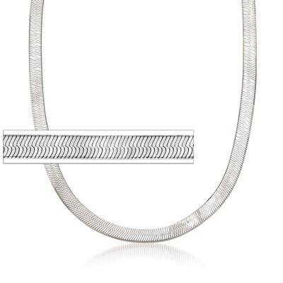 Italian 6mm Sterling Silver Herringbone Chain Necklace