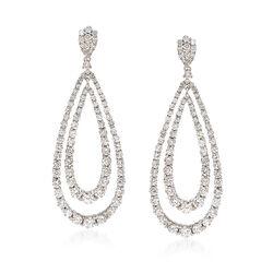 3.27 ct. t.w. Diamond Double Teardrop Earrings in 14kt White Gold, , default