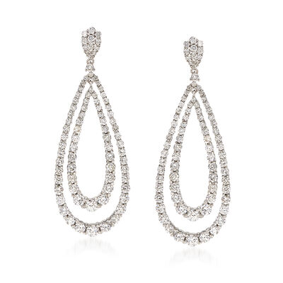 3.27 ct. t.w. Diamond Double Teardrop Earrings in 14kt White Gold, , default