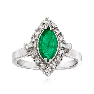 1.00 Carat Emerald and .40 ct. t.w. Diamond Halo Ring in 14kt White Gold
