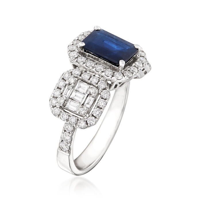 1.30 Carat Sapphire and .85 ct. t.w. Diamond Ring in 18kt White Gold