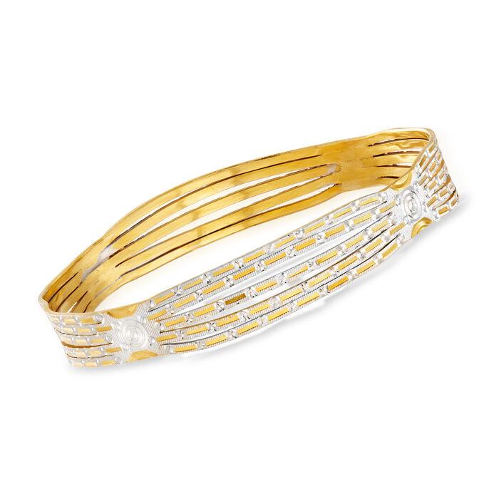 "C. 1986 Vintage 22kt Two-Tone Gold Circle-Design Bangle Bracelet with British Hallmark. 7.5"""