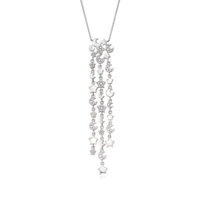 C. 2000 Vintage Pasquale Bruni .52 ct. t.w. Diamond Star Drop Necklace with Sapphire Accent in 18kt White Gold, , default
