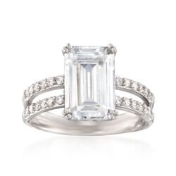 6.88 ct. t.w. CZ Ring in Sterling Silver, , default