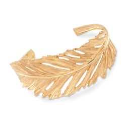 Italian 18kt Gold Over Sterling Silver Leaf Cuff Bracelet, , default
