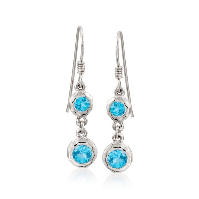 "Zina Sterling Silver ""Ripples"" 1.80 ct. t.w. Blue Topaz Drop Earrings"
