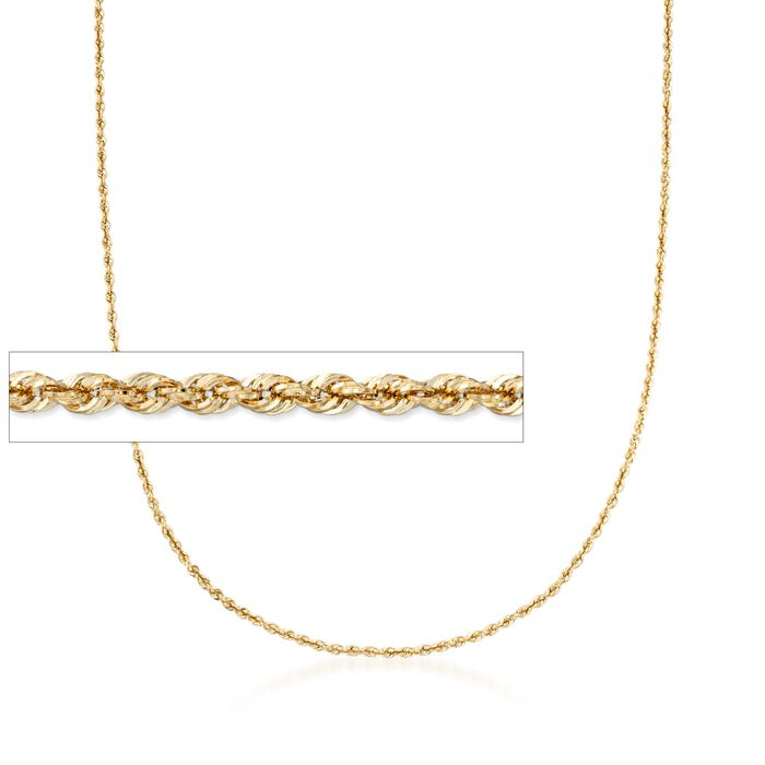 2.6mm 14kt Yellow Gold Rope Chain Necklace, , default