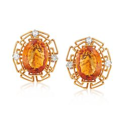 C. 1975 Vintage 15.50 ct. t.w. Citrine and .60 ct. t.w. Diamond British Hallmark Earrings in 18kt Yellow Gold , , default