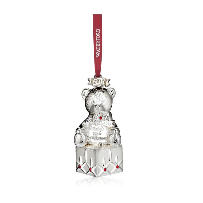 "Waterford 2017 Annual ""Baby's First"" Silverplate Ornament with Red Crystals - Teddy Bear, , default"