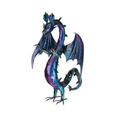 Regal Purple Serpent Dragon Metal Garden Statue, , default