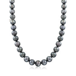 """Mikimoto 9.1-11.7mm A+ Black South Sea Pearl Necklace With 18kt White Gold and Diamond Accent. 17"""", , default"""
