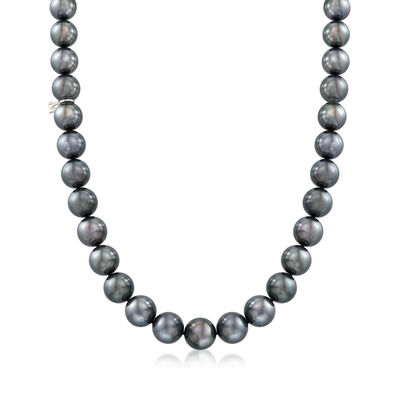 Mikimoto 9.1-11.7mm A+ Black South Sea Pearl Necklace With 18kt White Gold and Diamond Accent, , default
