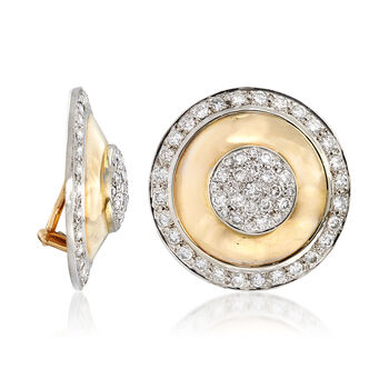 C. 1980 Vintage 4.00 ct. t.w. Diamond Shield Clip-On Earrings in 14kt Yellow Gold, , default
