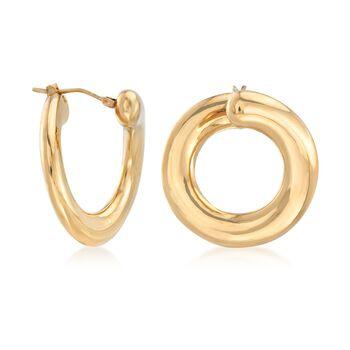 """Italian Andiamo 14kt Yellow Gold Front-Facing Hoop Earrings. 1"""", , default"""