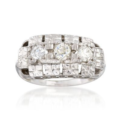 C. 1950 Vintage .58 ct. t.w. Diamond Floral Engraved Ring in 14kt White Gold