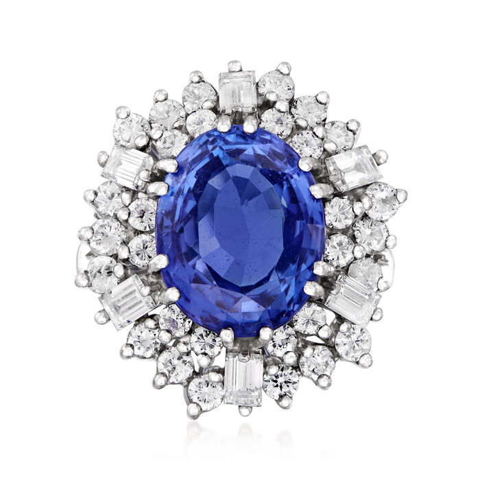 C. 1980 Vintage 6.45 Carat Tanzanite and 2.25 ct. t.w. Diamond Cocktail Ring in 18kt White Gold. Size 7, , default
