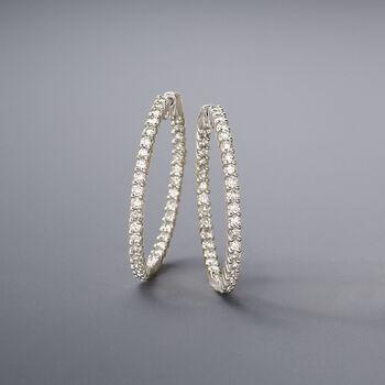 """3.00 ct. t.w. Diamond Inside-Outside Hoop Earrings in 14kt White Gold. 1 3/8"""""""