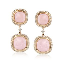 8.5-10mm Pink Opal and .74 ct. t.w. Diamond Drop Earrings in 18kt Yellow Gold, , default