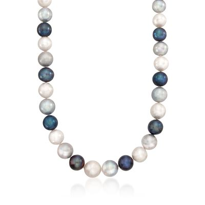 12-13mm Multicolored Cultured Pearl Necklace with 14kt Yellow Gold