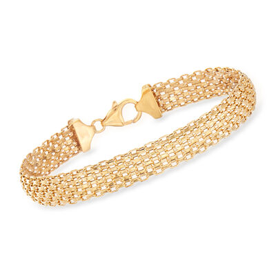 Italian 14kt Yellow Gold Multi-Row Bismark-Link Bracelet, , default