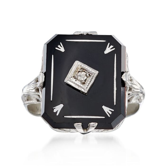C. 1950 Vintage Black Onyx Ring with Diamond Accents in 14kt White Gold. Size 5.5