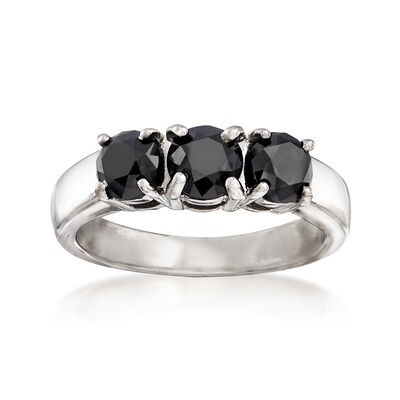 2.00 ct. t.w. Black Diamond Three-Stone Ring in Sterling Silver